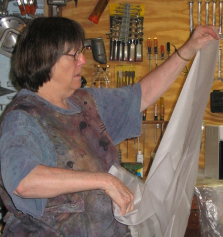 Judy Dales measures out organza