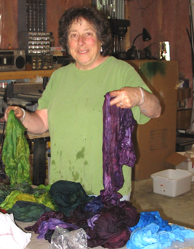 Me-happily pawing through my newly dyed wet silk