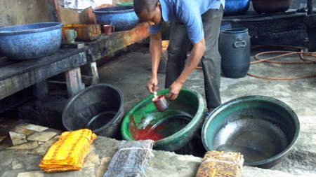 Dan mixing dye for his own work