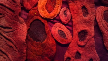 various dyed felted elements